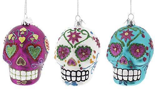 Dia De Los Muertos Celebration Christmas Ornaments 3 Pack 3 Colors]()