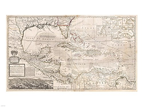 1732 Herman Moll Map of The West Indies, Florida, Mexico, and The Caribbean Art Print, 27 x 20 inches