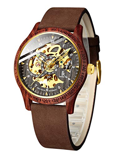 IK Colouring Men Watches, Wood Case Casual Automatic Mechanical Skeleton Wrist-Watch Genuine Leather Bracelet -