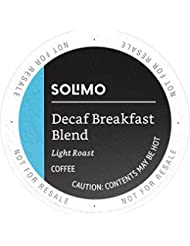 Amazon Brand - 100 Ct. Solimo Decaf Light Roast Coffee Pods, Breakfast Blend, Compatible with 2.0 K-Cup Brewers