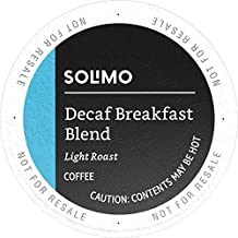 Amazon Brand - 100 Ct. Solimo Decaf Coffee Pods, Breakfast Blend, Compatible with 2.0 K-Cup Brewers