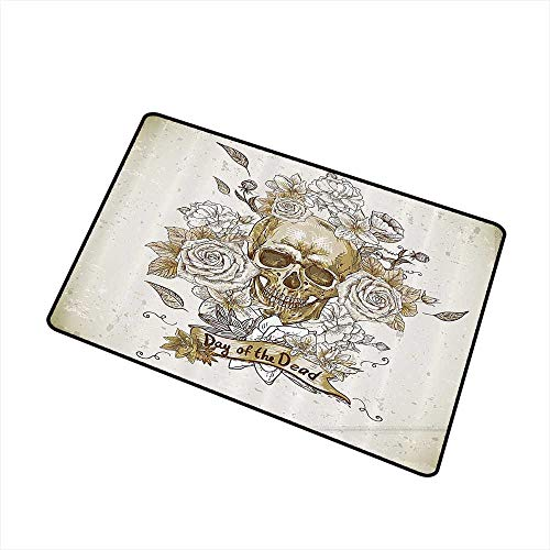 Washable Doormat Skulls Decorations Collection Skull with Roses Day of The Dead Sign Horror Mexican Traditional Art W35 xL47 with Anti-Slip Support Vanilla White Ivory