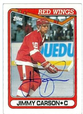 Jimmy Carson autographed Hockey Card (Detroit Red Wings) 1990 Topps No.231