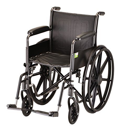 "NOVA Medical Products 18"" Steel Wheelchair with Fixed Arms a"