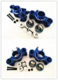 For 1 10 RC Car E-REVO REVO 3.3 SUMMIT E MAXX T MAXX3.3 Slayer Pro 4X4 FRONT AND REAR ALUMINUM STEERING BLOCK KNUCKLE ARM WITH RUBBER SHIELDED BEARINGS -4PCS SET Blue