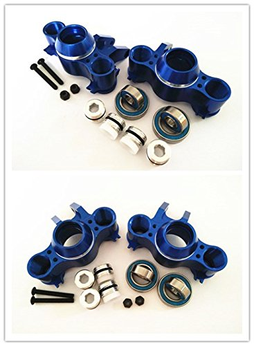 For 1/10 RC Car E-REVO REVO 3.3 SUMMIT E/MAXX T/MAXX3.3 Slayer Pro 4X4 5334R FRONT AND REAR ALUMINUM STEERING BLOCK KNUCKLE ARM WITH RUBBER SHIELDED BEARINGS -4PCS SET Blue