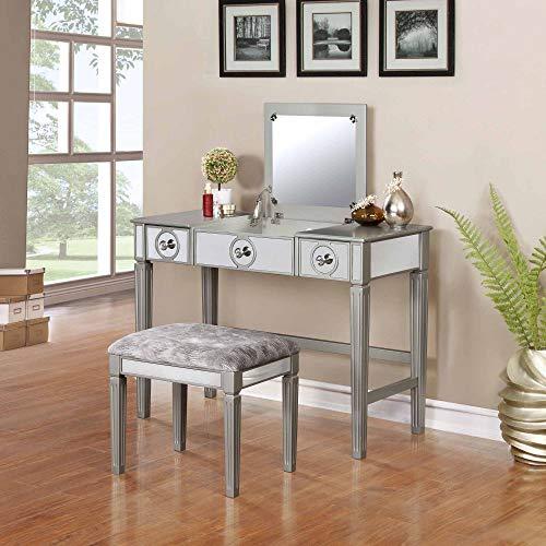 Amazon.com: Linon Home Décor Vanity Set Silver: Kitchen