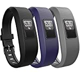 iBREK Garmin Vivofit 3 JR Silicone Replacement Bands with Metal Secure Watch Clasp(No Tracker) (Rhomboid Pattern 3 Pack:Black&Navy Blue&Gray)
