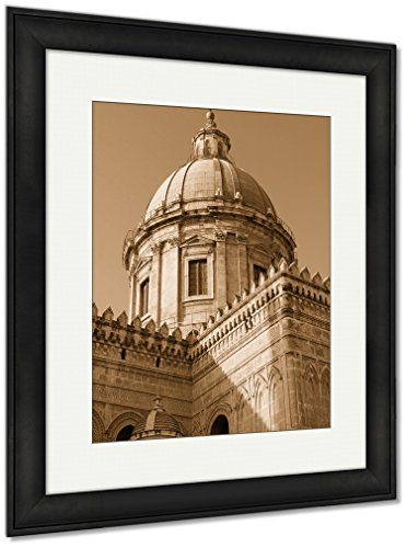 Island Canvas Sunset Outdoor (Ashley Framed Prints Italy Sicily Island Palermo City Cathedral At Sunset, Wall Art Home Decoration, Sepia, 35x30 (frame size), Black Frame, AG5537347)
