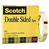 Scotch 665 Double-Sided Office Tape 1/2 x 36 Yds Clear