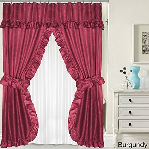 bed bath n more Double Swag 5-piece Liner, Tie-back, and Shower Curtain Set Burgundy (Swag Piece 5)