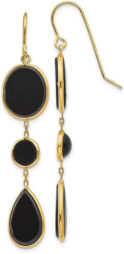 Pendientes colgantes geométricos de ónix de oro amarillo de 14 quilates