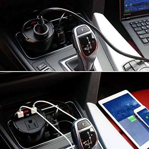 200W Car Power Inverter DC 12V to 110V AC Outlet Cup Holder Car Converter Adapter with 4.8A Dual Smart Quick USB Charger by EasyFocus (Image #5)