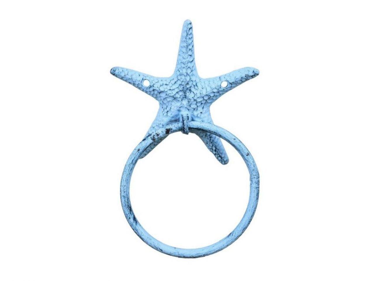 Rustic Dark Blue Whitewashed Cast Iron Starfish Towel Holder 8.5 Inch Starfish Decoration Sea Home