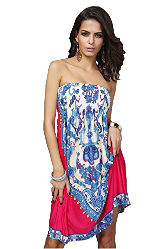 Wander Agio Womens China Porcelain Printing Top Dress Beach Sleeveless Cover Up Red