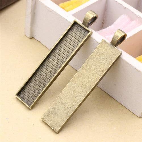 - Pendant Trays - Fit 10x50mm Rectangular cabochons Pendant Tray Cameo/Glass/Cabochon Frame Bezel Settings for DIY Making 5pcs/lot (K02943)