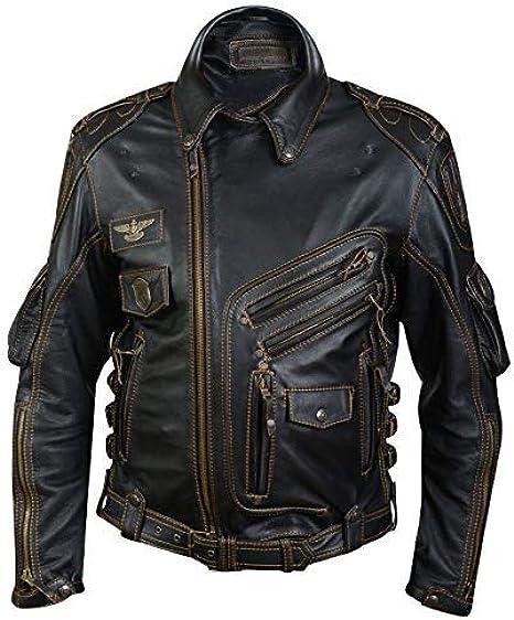 Color Negro Alpha Royale Estilo Vintage Ajustada Chaqueta de Motorista de Piel aut/éntica para Hombre