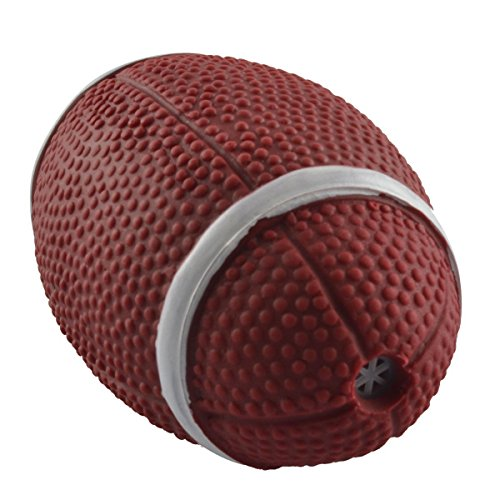 Dogloveit Dog Football Rubber Ball Toy with Sound Squeaker Squeaky Toy for Pets Puppies Dogs Cats