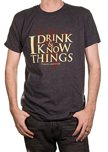 (Game of Thrones Men's T-Shirt (I Drink and I Know Things,)