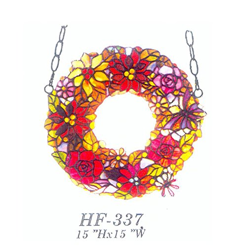 HF-337 15'' Pastoral Vintage Annuls Tiffany Style Handmade Stained Glass Colourful Flowers Window Hanging Glass Panel Suncatcher by Gweat Window Hanging