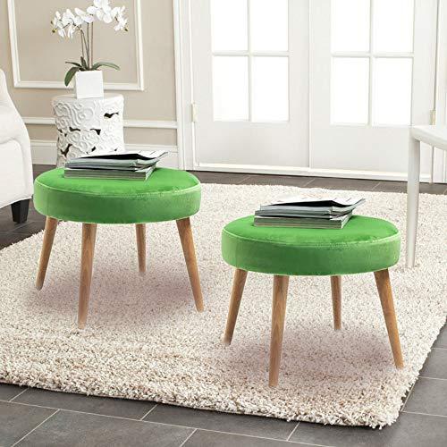 (TINA'S HOME Mid-Century Modern Tufted Large Velvet Round Footrest/Footstool / Ottoman - (Set of 2) - Green)