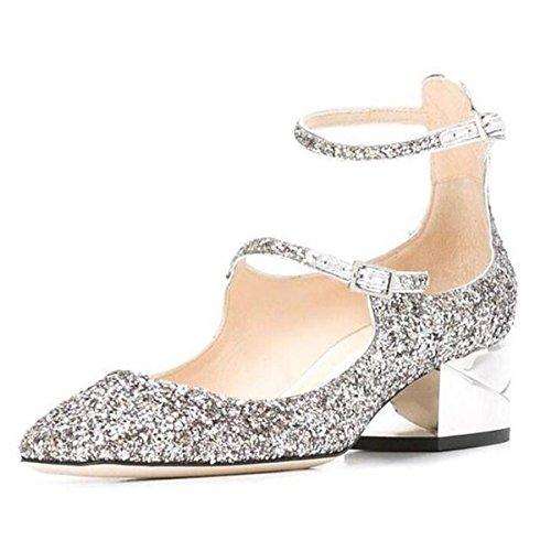 DIMAOL Chaussures Femmes de Paillettes Scintillantes Cuir Véritable Printemps Automne Talons Talon Confort Décontracté Pour Argent Or,Gold,US6/EU36/UK4/CN36