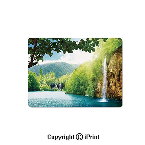 Thick 3mm Gaming Mouse Pad Croatian Lake Landscape in Forest with Mountain View Background Artwork Personality Design Non Slip Rubber Mouse Mat,7.1x8.7 inch,Green and Blue
