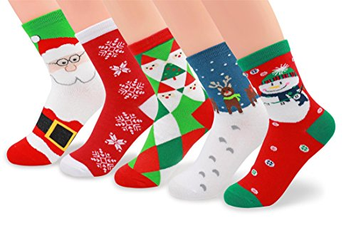 V28 Women's Cute Socks with Owls Pandas Dog Tigers Foxes Various Pattern Multipack (One Size, Xmas Set-1) (Cartoon Pattern Casual)