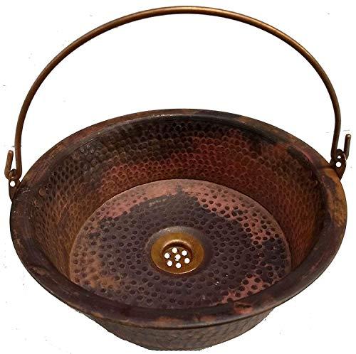 Rustic Hand Fired Pan Vessel Tempered Copper Bathroom Bucket Sink Toilet Washroom Above Counter Washbasin Bowl Basin Vintage Antique Decor