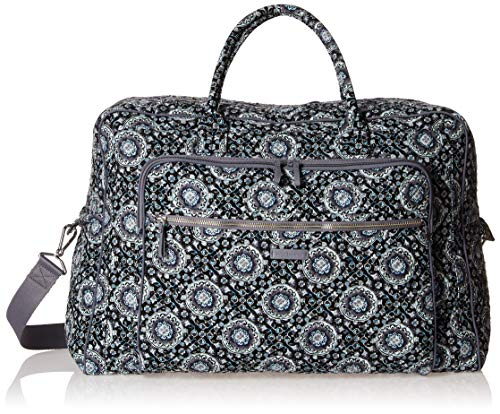(Vera Bradley Iconic Grand Weekender Travel Bag, Signature Cotton, Charcoal Medallion, One Size)