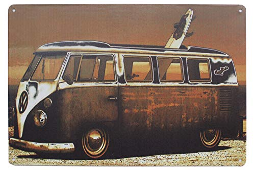 Volkswagen Kombi Van, Metal Tin Sign, Tin Poster, Art Vintage Style Wall Ornament Coffee Decor, 20 X 30 Cm.
