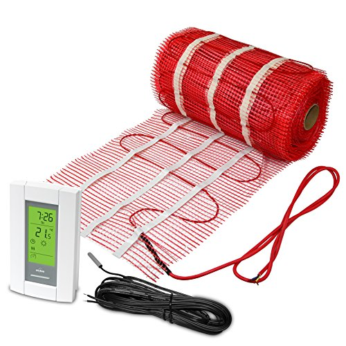 - 30 Sqft Mat, Electric Radiant Floor Heat Heating System with Aube Digital Floor Sensing Thermostat