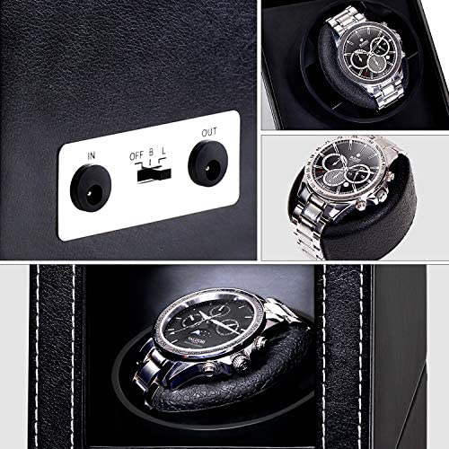 Automatic Single Watch Winder with Durable Watch Leather Pillow Stable PU+Wood Watch Turner Box Mabuchi Motor Watch Spinner Case Fit Lady and Man Watches Include USB+DC Cable