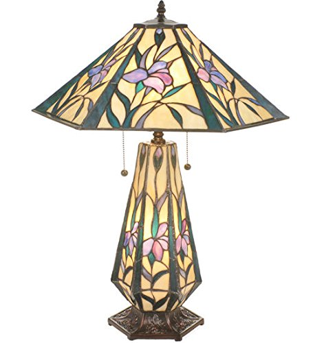 Tiffany Style Stained Glass Iris Hex Lighted Base Table Lamp