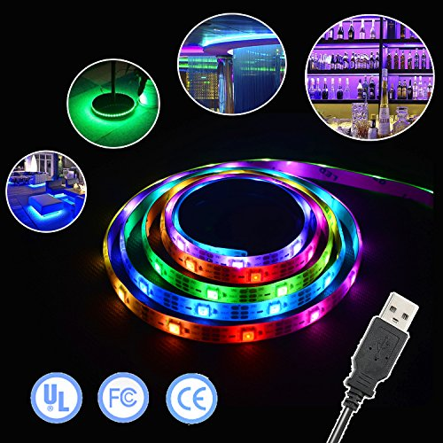 Simfonio LED Lighting Strip 5V 1M 3.28Ft 5050 SMD RGB 30leds 30 Pixel WS2812B IC Dream Color Waterproof USB Light Kit with Mini Controller