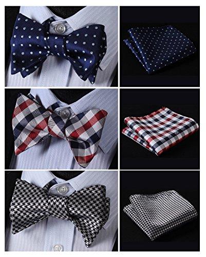HISDERN 3pcs Mixed Design Classic Mens Self-Tie Bow tie & Pocket Square - Multiple Sets