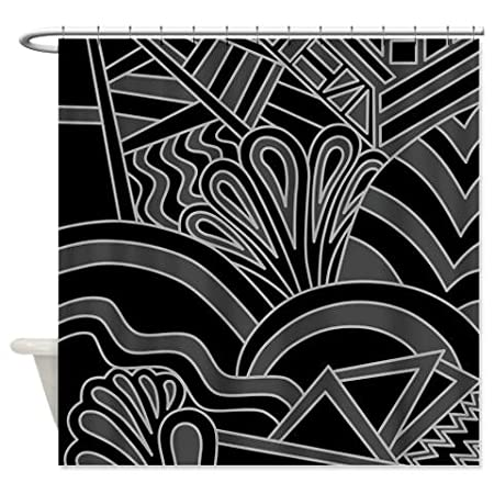 Black Art Deco Style Pattern Shower Curtain