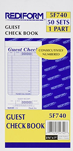 - Rediform Guest Check Pad, White, 3.375 x 7 Inches, 50 Forms (5F740)