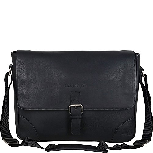"Ben Sherman Leather Single Compartment 15"" Computer Case Crossbody Travel Laptop Messenger Bag, Black, One Size by Ben Sherman"