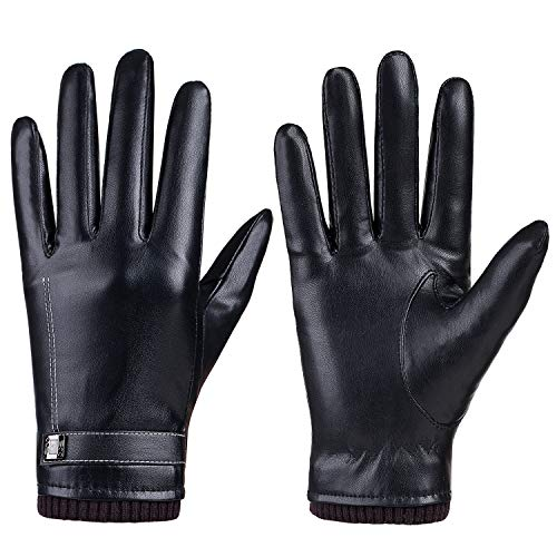 Winter Women Gloves PU Leather Touchscreen Full Finger Warm Gloves Fleece Lining Gloves for Cycling Driving By RCWDXG
