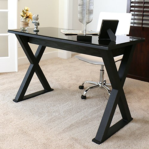 Black Glass Computer Desk - WE Furniture 48