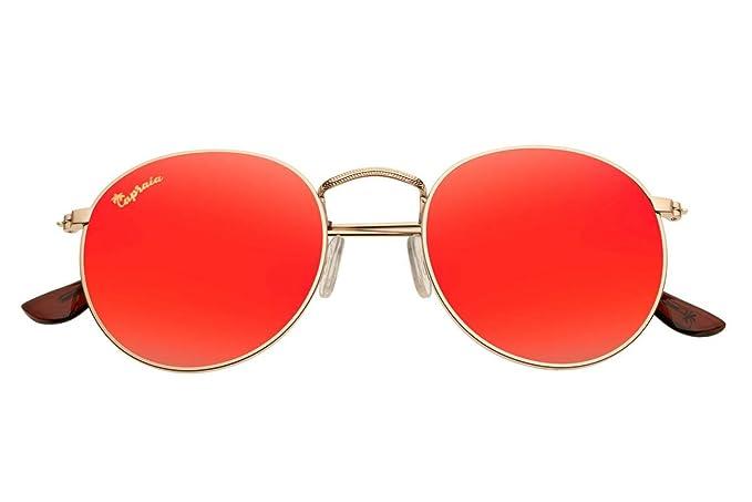 e9fb1296e2 Capraia Bellone Cool Redondas Festival Gafas de Sol Alta Calidad Golden  Montura Metálica y Lentes Rojas Espejadas Polarizadas protección UV400  Hombres ...