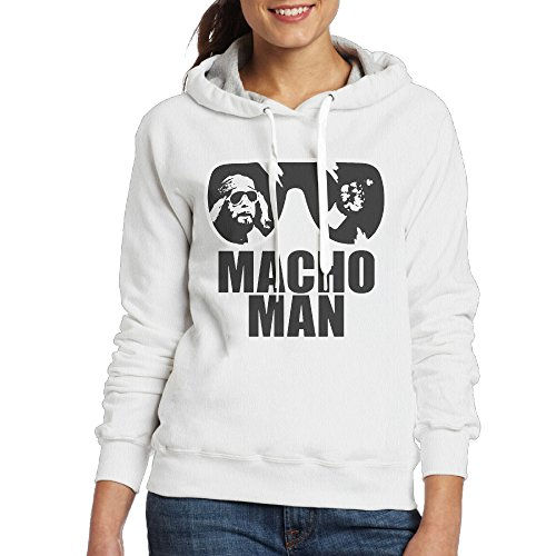 [Macho Man Women's Hooded Sweatshirt XL White] (Wall E Costume Disney)