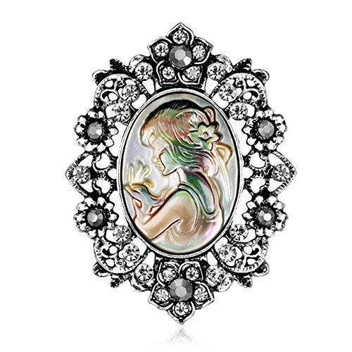 2019 New Style Head Rhinestone Cameo Brooch For Women Brooches Pin Jewelry | COLORS - - Brooch Wedgwood Cameo