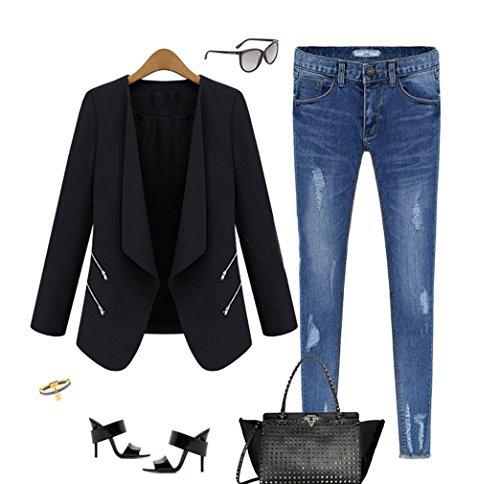 Slim Nero in Collo da Blazer Misti Donna Cerniera con Risvolto Vogue Giacca La 7qH0fa