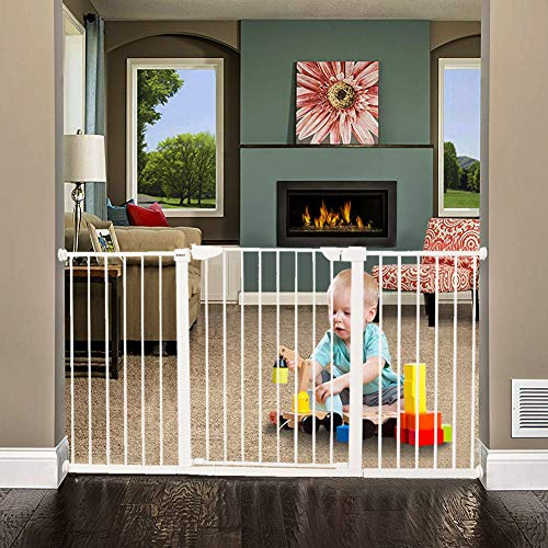 ALLAIBB Walk Thru Metal Baby Gate Pressure Mount Kit Auto Close Child Safety Gate Size 59.84″-62.60″ (White)