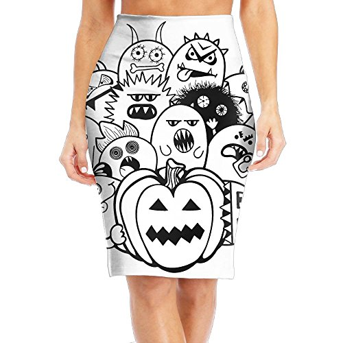Cartoon Halloween Doodles Women's Fashion Printed Pencil (Cartoon Halloween Doodles)