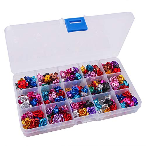 Colle 150 Pieces Aluminum Rose Flowers Beads 15mm Flower Cabochons Spacer Beads for Jewelry Making Mixed Colors