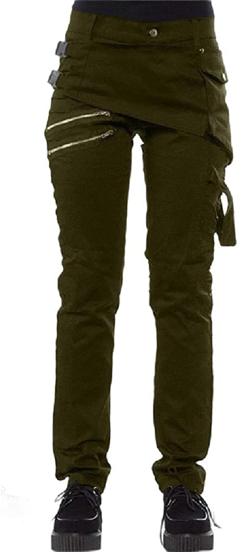 Romancly Womens Relaxed Fit Rivets Studded Slim-Fit Cargo Pants with Belt Buckle