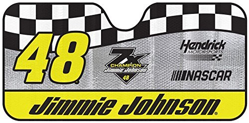NASCAR Jimmie Johnson Car Windshield Sun Shade, Blocks UV Rays Sun Visor Protector, Sunshade To Keep Vehicle Cool, Easy To Use, Fits Most Cars, SUVs, Pick Up Trucks, Smaller RVs
